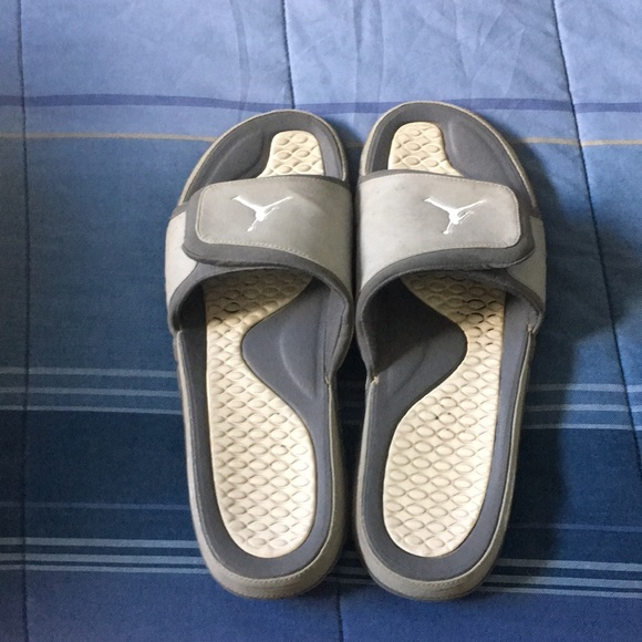 separation shoes 47db4 da5b5 Men's Grey and White Jordan Sandals